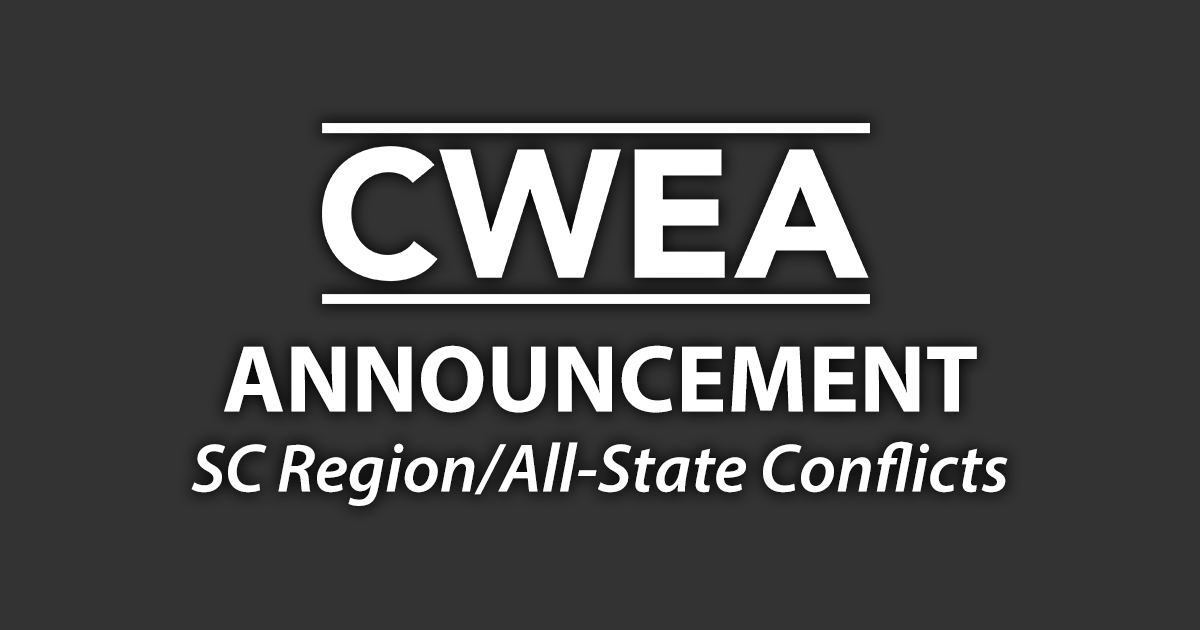 Important Announcement Concerning SC Region & All-State Conflicts